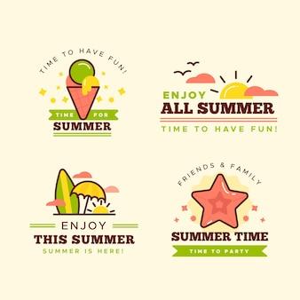 Set di etichette estive design piatto