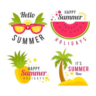 Flat design summer labels