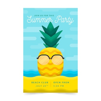 Плоский дизайн летняя вечеринка флаер шаблон