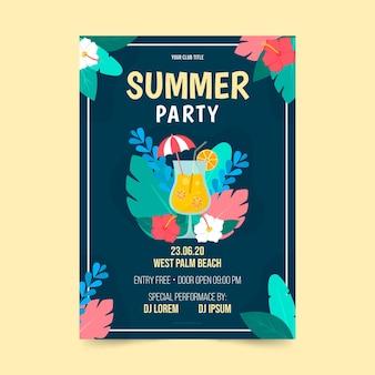 フラットなデザインの夏のパーティーチラシテンプレート