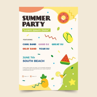 Flat design summer party flyer template