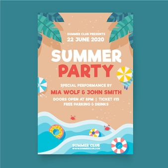 Flat design summer party flyer
