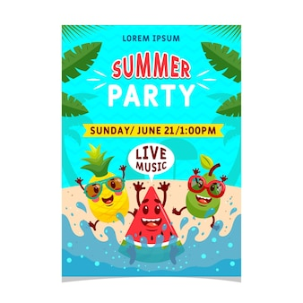 Flat design summer party live music poster