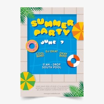 Flat design summer party poster template