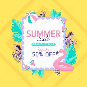 Flat design summer sale banner