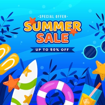 Flat design summer sale concept