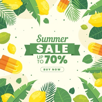 Flat design summer sale with discount