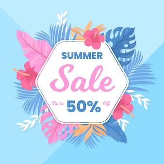 Flat design summer sale with offer