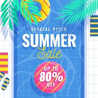 フラットなデザインの夏の季節の販売コンセプト