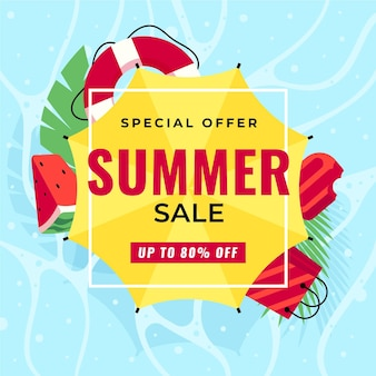 Flat design summer seasonal sales