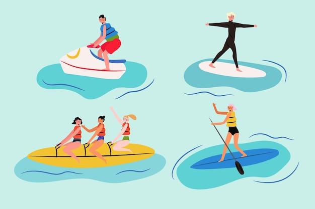 フラットなデザインの夏のスポーツイラスト