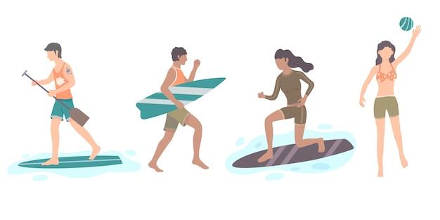 フラットなデザインの夏のスポーツセット