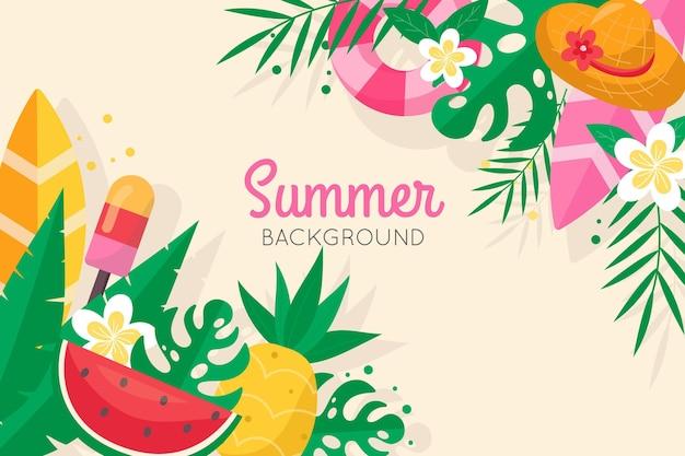 Плоские дизайнерские летние обои с пляжем