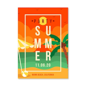Flat design summertime party flyer