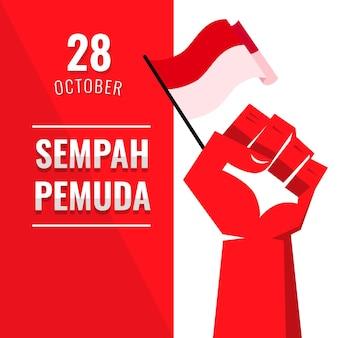 旗と拳でフラットなデザインのsumpah pemuda