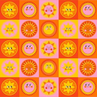Flat design sun collection pattern