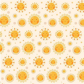 Flat design sun pattern fabric