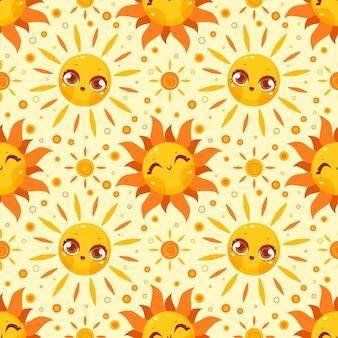 フラットなデザインの太陽のパターン 無料ベクター