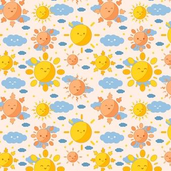フラットなデザインの太陽のパターン