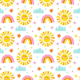Flat design sun, rainbow and clouds pattern