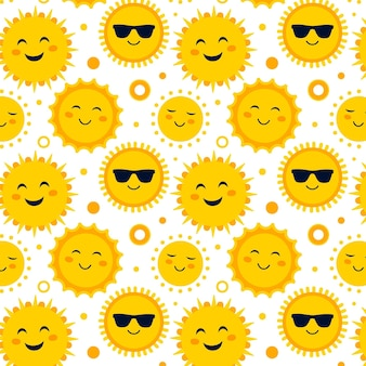 Flat design sun with sunglasses pattern