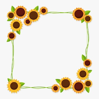 Flat design sunflower border with copy space