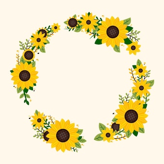 Flat design sunflower border with empty space