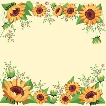 Flat design sunflower border