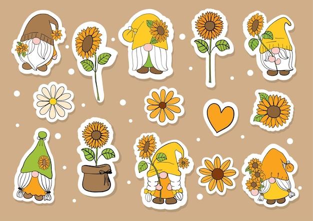 Flat design sunflower and gnomes stickers Premium Vector