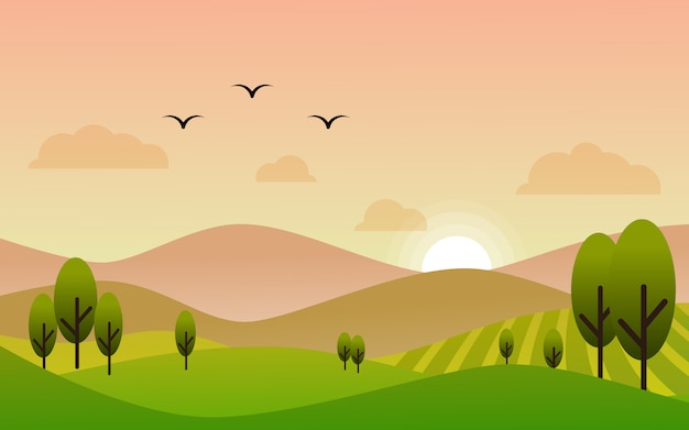Flat design sunset landscape in farmland