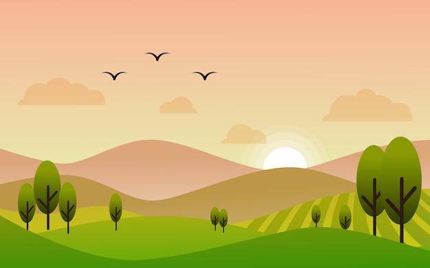 Плоский дизайн закат пейзаж в сельхозугодьях