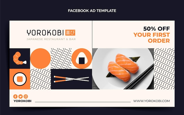 Modello di facebook sushi design piatto