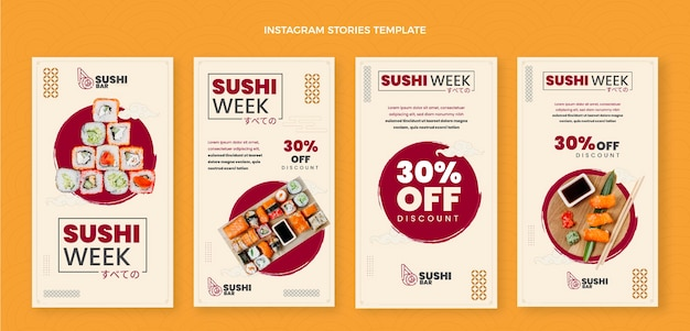 Плоский дизайн суши instagram рассказы