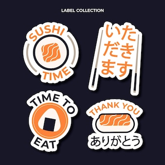 Flat design sushi labels template