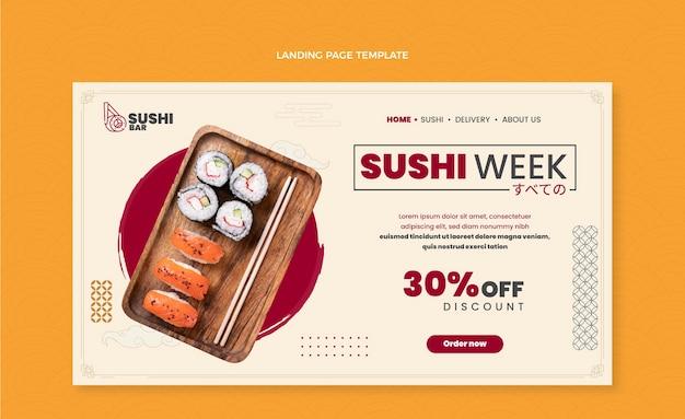 Целевая страница недели суши в плоском дизайне