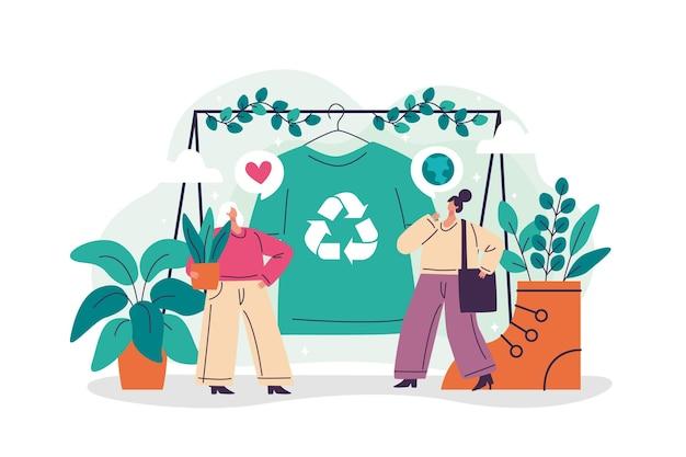 Плоский дизайн концепции устойчивой моды