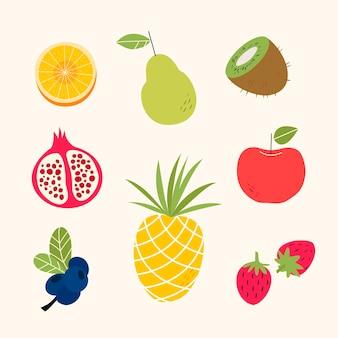 Коллекция сладких фруктов в плоском дизайне