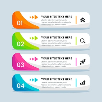 Flat design table of contents infographic template