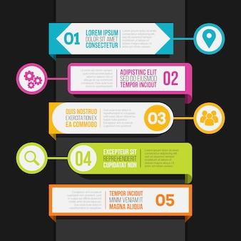 목차 infographic 템플릿의 평면 디자인 테이블
