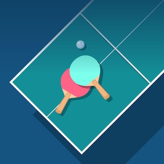 Flat design table tennis illustration