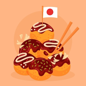 Flat design takoyaki dessert with japan flag