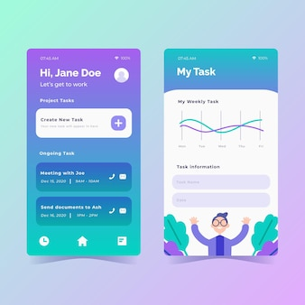 Flat design task management app set