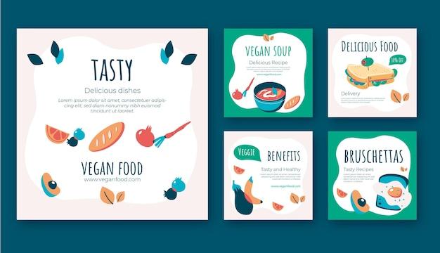 Плоский дизайн вкусной еды instagram постов шаблон