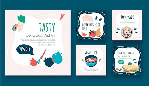 평면 디자인 맛있는 음식 instagram 게시물