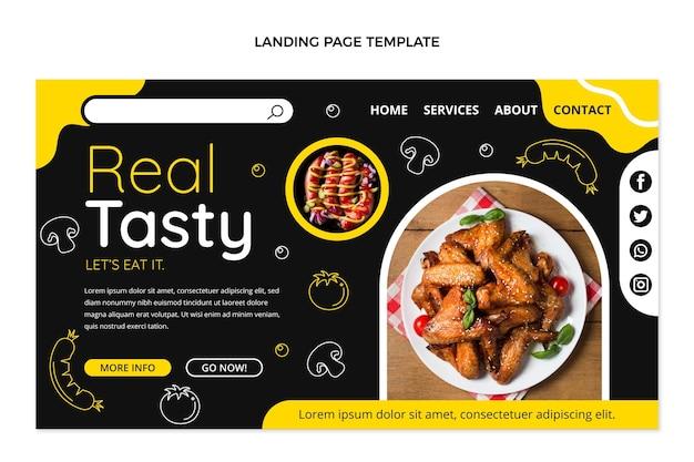 평면 디자인 맛있는 음식 방문 페이지