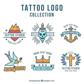 Flat design tattoo logo collection