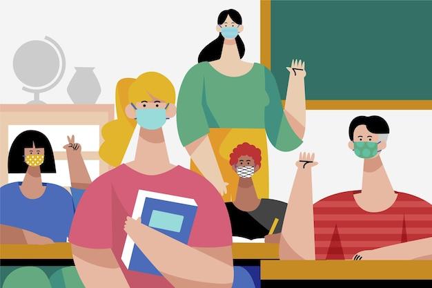 フラットデザインの先生とクラスでフェイスマスクを着用している学生
