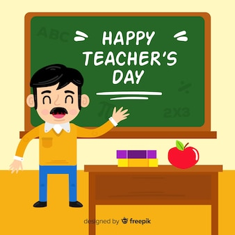 Flat design teacher in classroom with wish on chalkboard