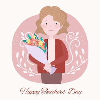 Flat design teacher holding flowers