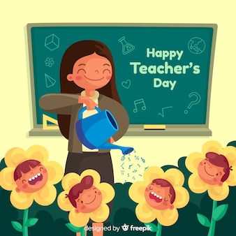 Flat design teacher watering flowers